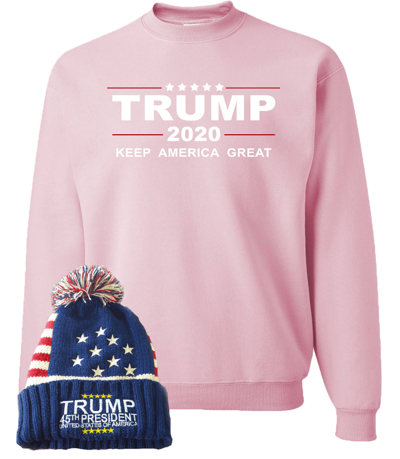 Trump 2020 Pink Sweatshirt With Beanie